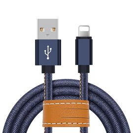 Blue Jean Braided Apple Lightning Cable 3.3ft Transfer Cepat Untuk IPhone X 8 7 6S